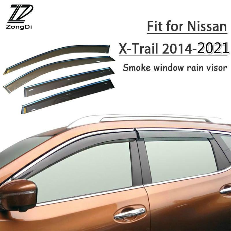 กันสาด/คิ้วกันสาด Nissan X-trail 2014-2021 โปร่งใสหนาขึ้น 1set ABS Rain Smoke Window Visor Car Wind Deflector For Nissan X-Trail T32 2014-2021 Accessories