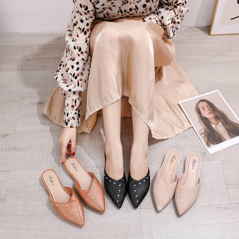 รองเท้า รองเท้าคัชชู รองเท้าผู้หญิง แบบเปิดส้น หัวแหลม เรียบหรู เหมาะกับใส่ไปทำงาน แฟชั่น มีหลายสีให้เลือก