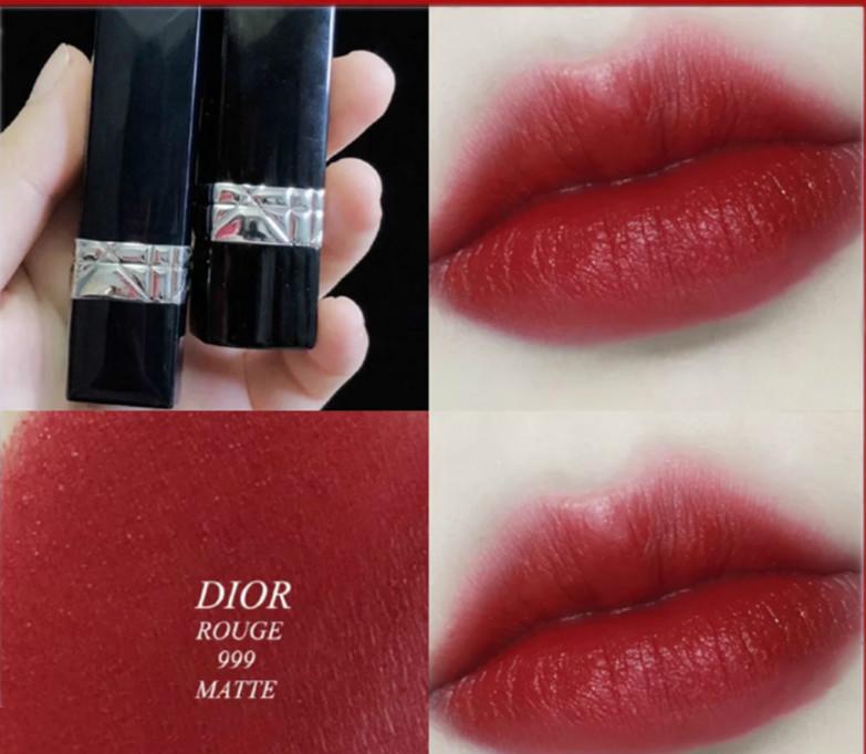 Dior ลิปสติก ลิปกลอส lipstick Lieyan blue Jin Dior 999# matte red1