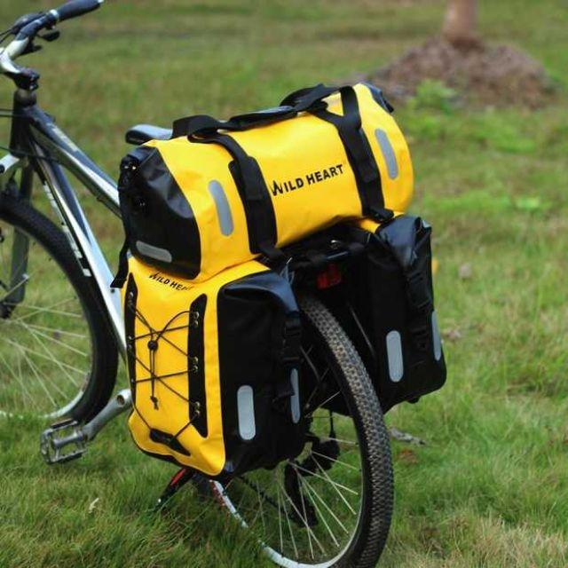 กระเป๋าทัวริ่ง กระเป๋าจักรยานกันน้ำ 3 ใบ (สีเหลือง)   ไวล์ด เฮอร์ด Wild Heart    กระเป๋าทัวร์ริ่ง  กันน้ำ 100%
