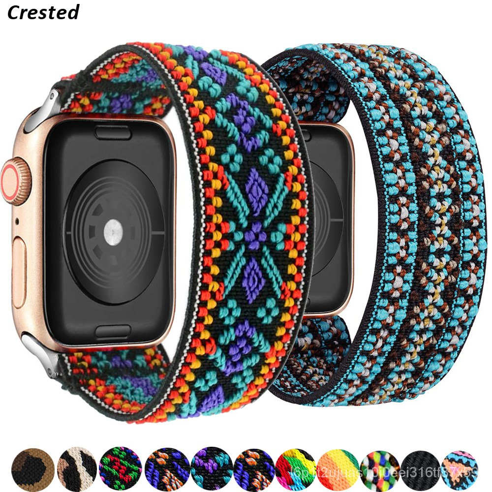Scrunchie Strap For Apple watch band 44mm 42mm 40mm 38mm Bohemia Elastic belt solo loop bracelet iWatch series 3 4 5 se