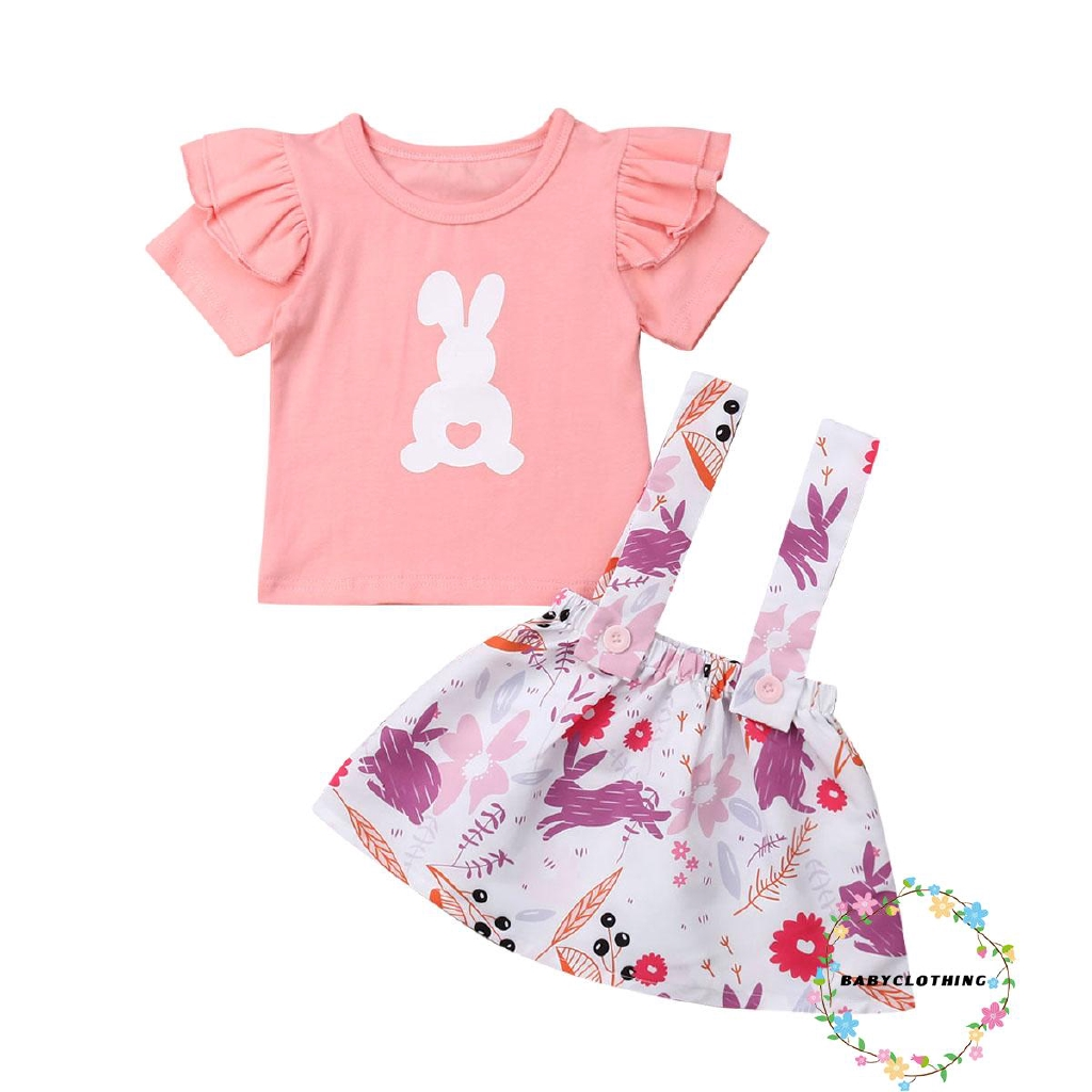 Toddler Baby Girls Easter Skirt Set Fly Sleeve Bunny Print Shirt+Yellow Suspender Dress 2Pcs Outfits
