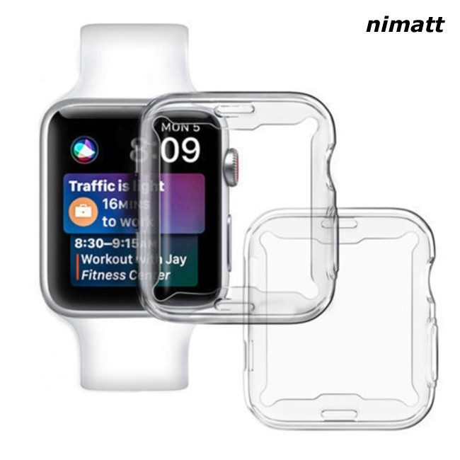 NI Ultra-thin Soft TPU Transparent Protector Case for Apple Watch Series 4 44mm 40mm