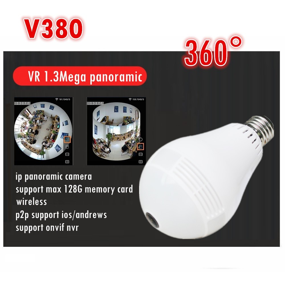 Ip camera v380 Realistic 360 Degree Wireless Panoramic Light Camera Network  Bulb supports up to 128G memory card