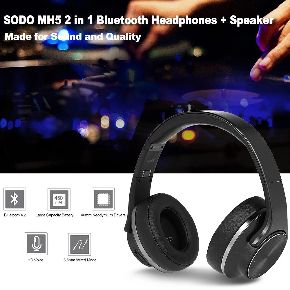 SODO MH5 2 in 1 Blutooth Headphones+Speaker