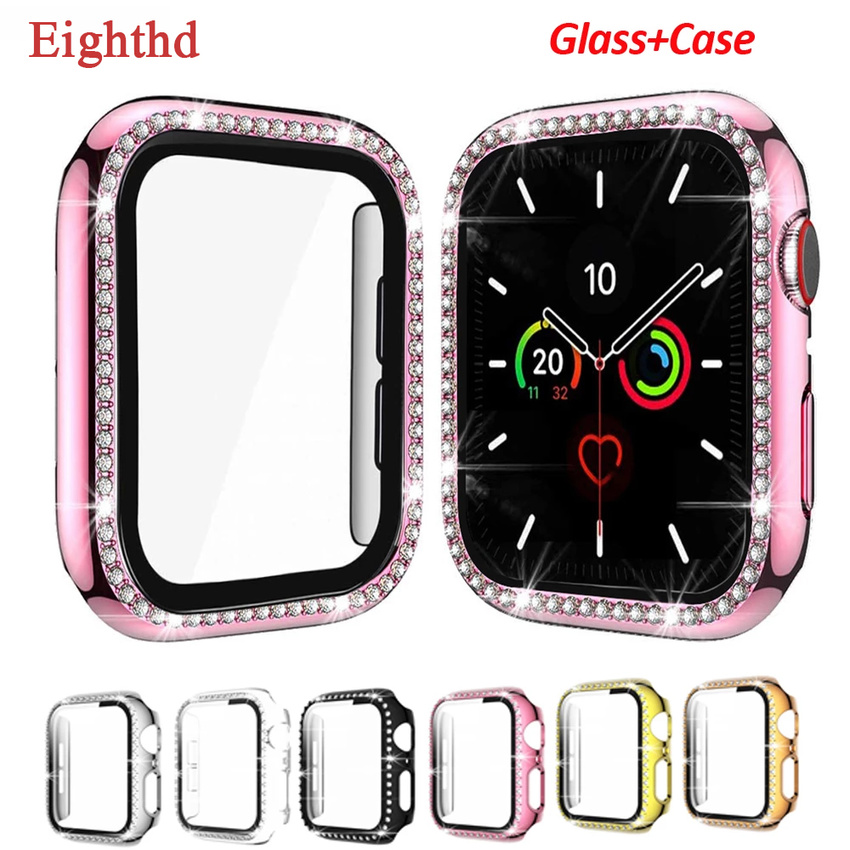 Diamond Case + Glass for Apple Watch Series SE 6 5 4 3 2 1 IWatch 44mm 40mm 42mm 38mm Bumper Tempered Screen Protector+cover Apple Watch Cases Watch Glass Accessory