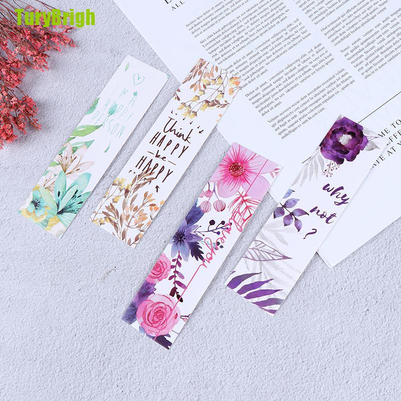 [TURB] 30pcs/set Flowers Bookmarks Message Cards Book Notes Paper Page Holder for Books VBKGH