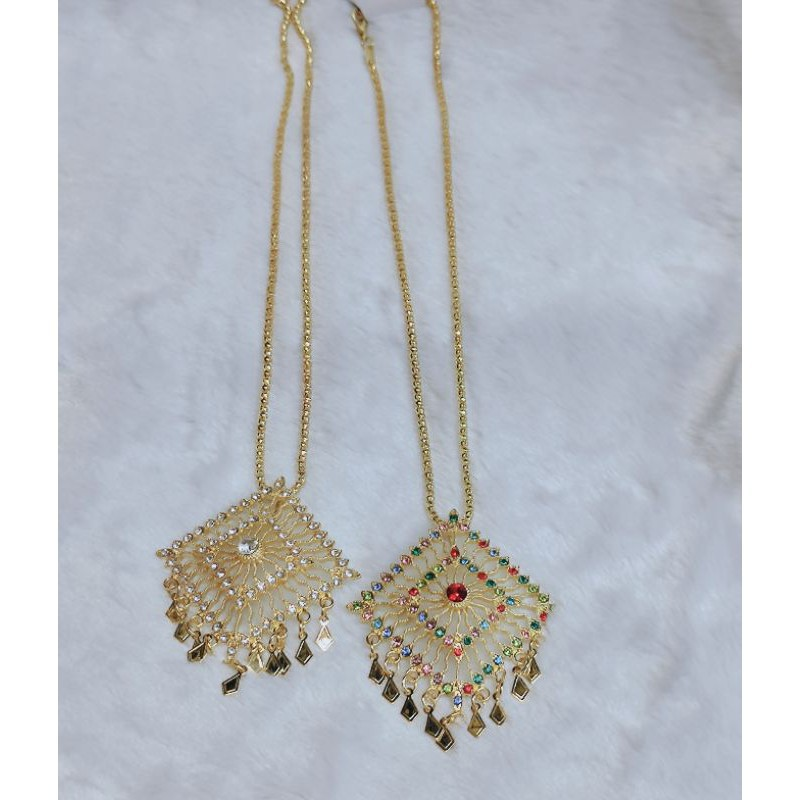 สร้อยคอ สร้อยคอเงินแท้ เครื่องประดับชุดไทย สร้อยชุดไทย ราคาถูกสีทอง