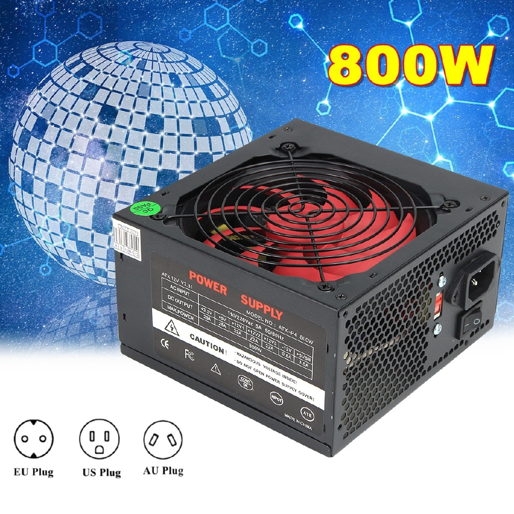 800W 12V ATX Computer Power Supply 12CM Fan 80+ Gold 20+4PIN For Intel AMD  PC
