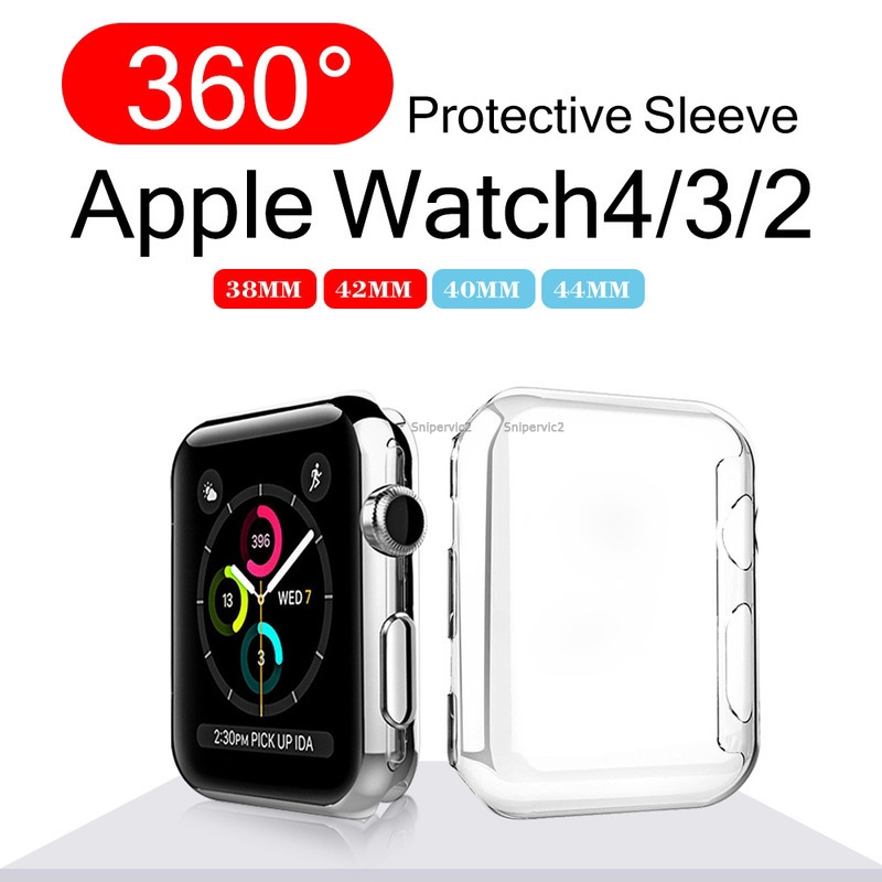 Full Cover Case for Apple watch 4 3 2 1 เคส case ช็อกหลักฐานโปร่งใสปก 40 mm 44 mm 360 for Iwatch 4 38 mm 42 mm ปกเต็ม อ่อนนุ่ม ชัดเจน