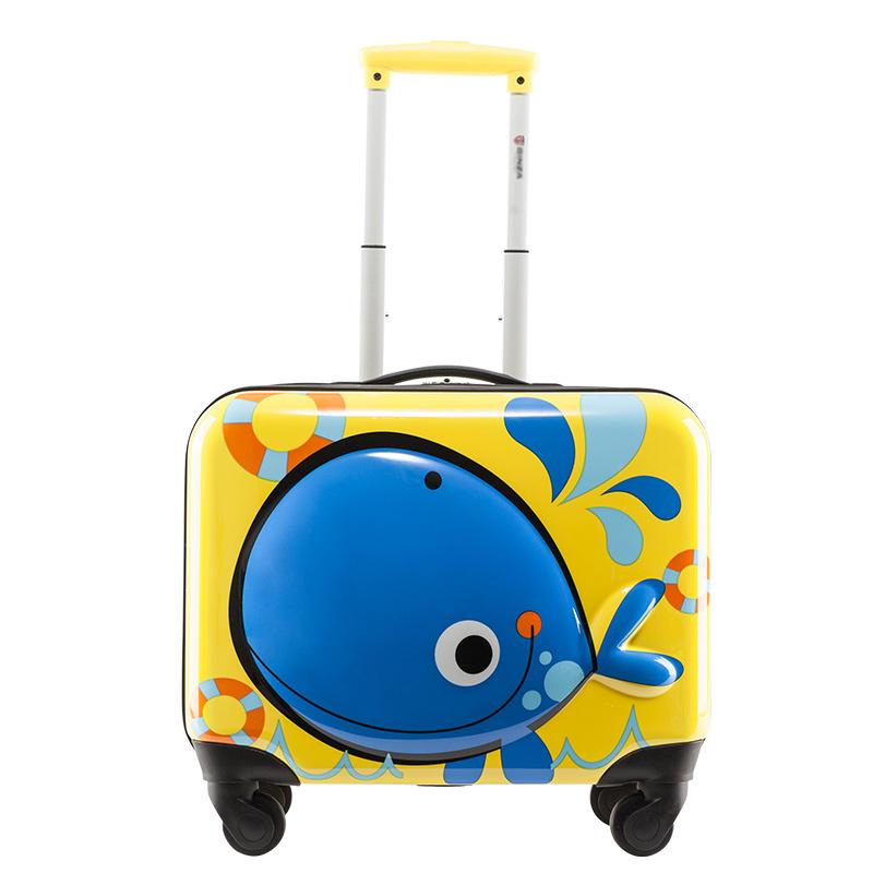 ジレ กระเป๋าเดินทางล้อลาก กระเป๋าเดินทางล้อลากใบเล็กกรณีรถเข็นกระเป๋าเด็กผู้ชาย18นิ้วขนาดเล็กมินิรถเข็นกล่องลากสาวการ์ตูนน