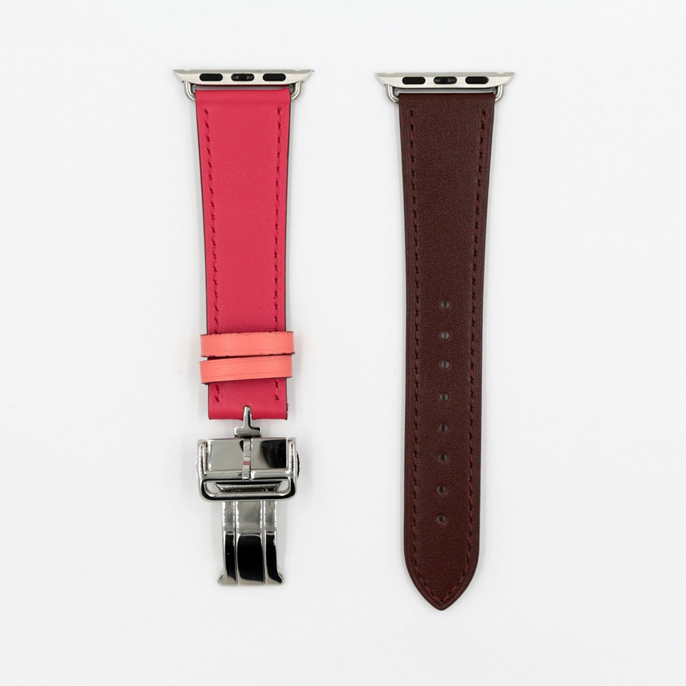 Genuine Leather Strap Butterfly Buckle Band for Apple Watch 44mm 40mm Band Replacement Watchband for iWatch Series 6 5 4