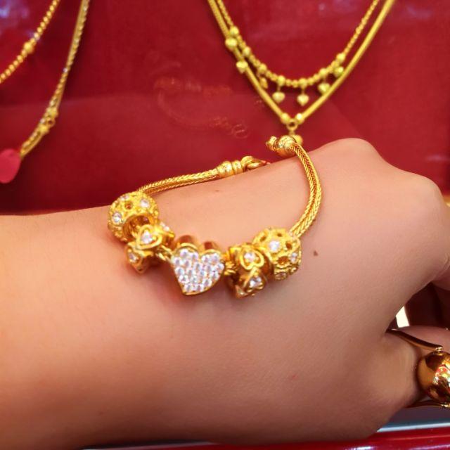  สร้อยมือทองแท้ 96.5% ❤️ ดวงเดียว สวยหรู น้ำหนักทอง 2 บาท 17cm. ราคา60,500 บาท