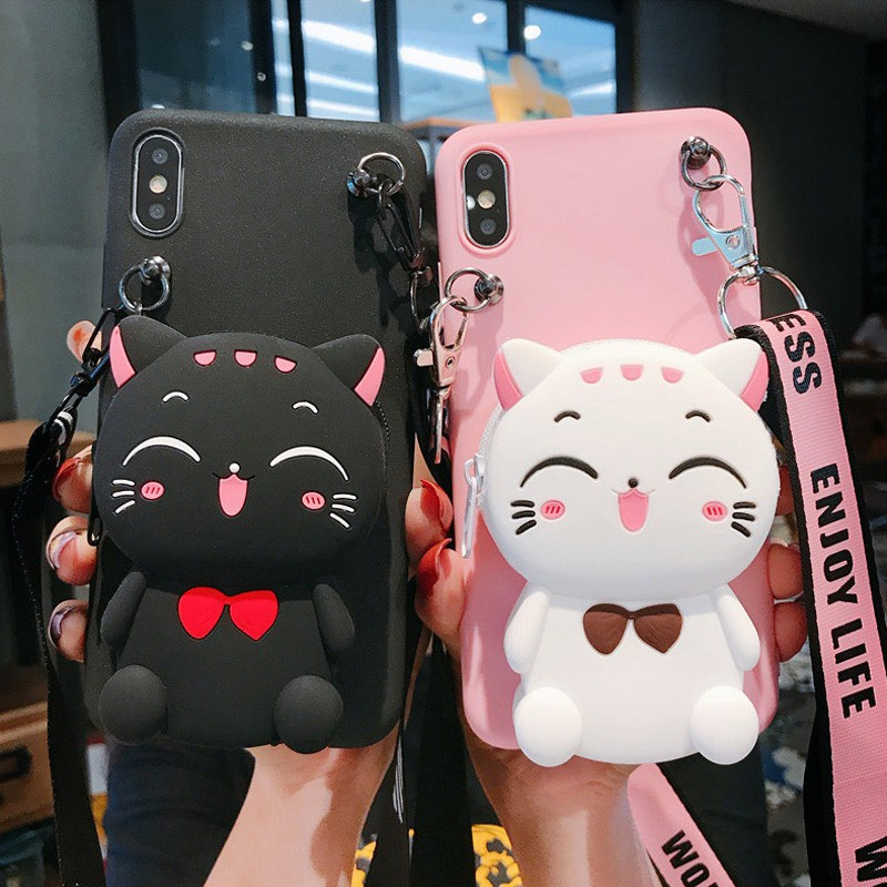 Samsung A31 A01 A9 C9 Pro 2016 A6 A8 Plus J8 2018 Note 8 9 S8 S9 Plus Ultra Case  เคสโทรศัพท์มือถือ แมวนำโชค อ่อนนุ่ม