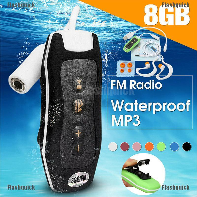 FQK ❤ Waterproof 8GB MP3 Player + Headphone Clip Music Player Swimming Diving Running