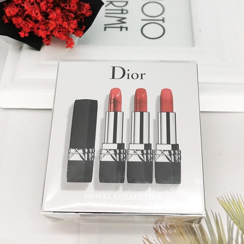 ♚Dior lipstick แบรนด์ใหญ่ของแท้ flame ยาวนาน moisturizing matte 999 ชุดกล่องของขวัญสามแพ็ค