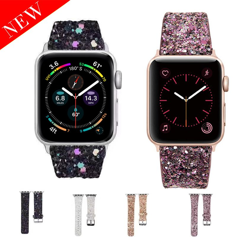 2020 Leather Band for Apple Watch 38mm 40mm Women Bling Diamond 42mm 44mm Genuine Shiny Glitter Strap iWatch Series 5 4