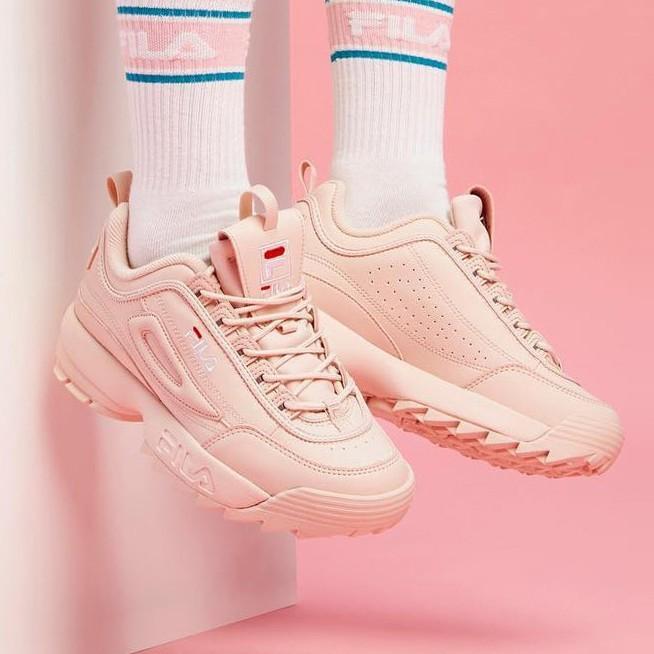 Fila รองเท้ากีฬารองเท้าวิ่งลำลองสีชมพู