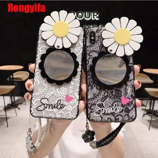 Review OPPO A9 A5 2020 Reno2 Reno Z 2F Realme 5 3 Pro C2 A1K Case Sun Flower Mirror Lace Luxury Cover Hand Strap Case Cover