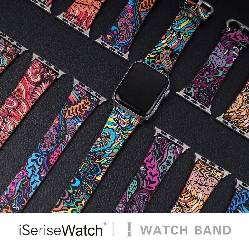 สายนาฬิกาข้อมือหนังสําหรับ Apple Watch Band 5 Series 4 Iwatch 3 / 2