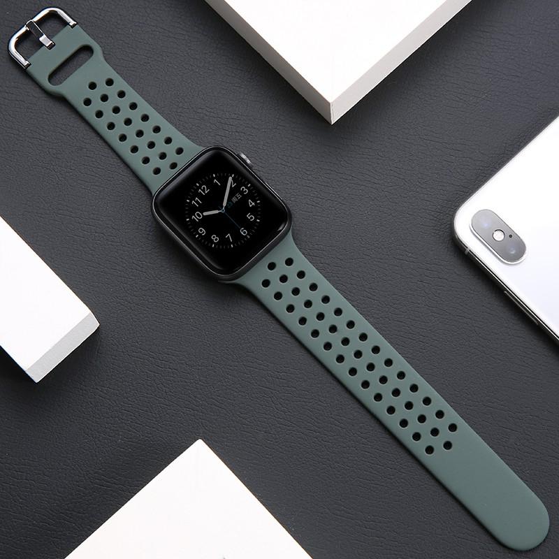 สายนาฬิกา Apple Watch Strap สายนาฬิกาข้อมือซิลิโคน for Iwatch สาย Apple watch Series 1/2/3/4/5/6,Apple Watch SE size 38mm 40mm 42mm 44mm สายนาฬิกาข้อมือ for apple watch 4 Strap