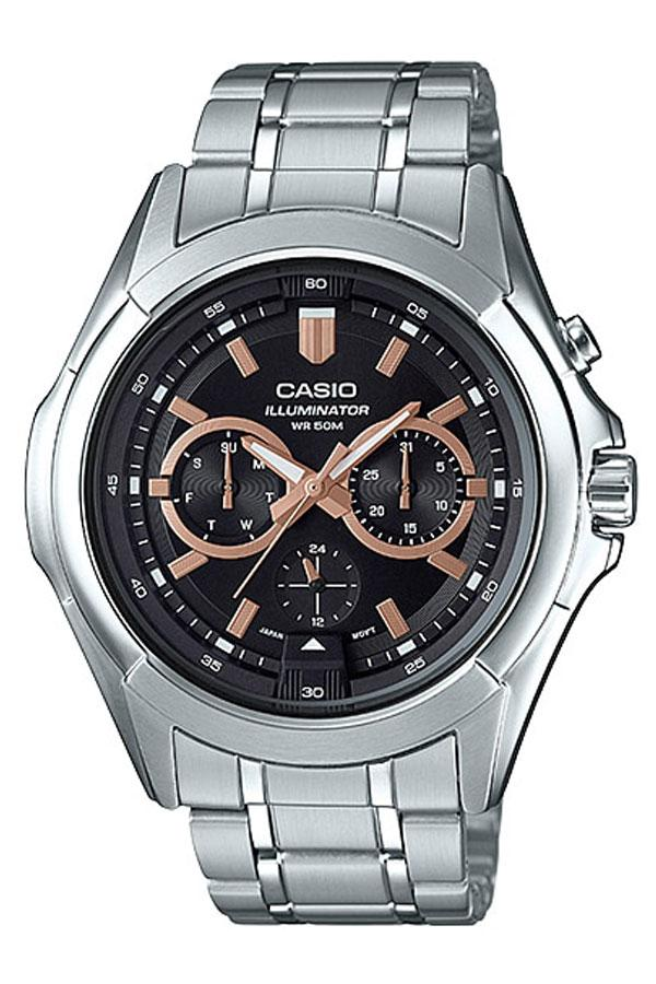 Casio Standard นาฬิกาข้อมือผู้ชาย สายสแตนเลส รุ่น MTP-E204D,MTP-E204D-1A - สีเงิน WoFw