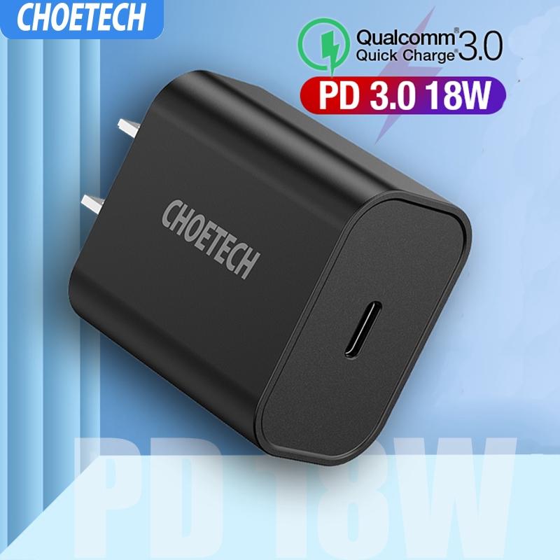 CHOETECH PD 18W USB C เครื่องชาร์จ QC3.0 Type-C เครื่องจ่ายพลังงานแบบติดผนัง