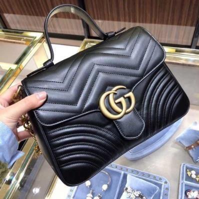 【XE】Noy 99 ใหม่ Gucci Gucci Marmont ขนาดกลาง 27 ซม. คู่ G กระเป๋าสะพายข้าง 498110 จุด