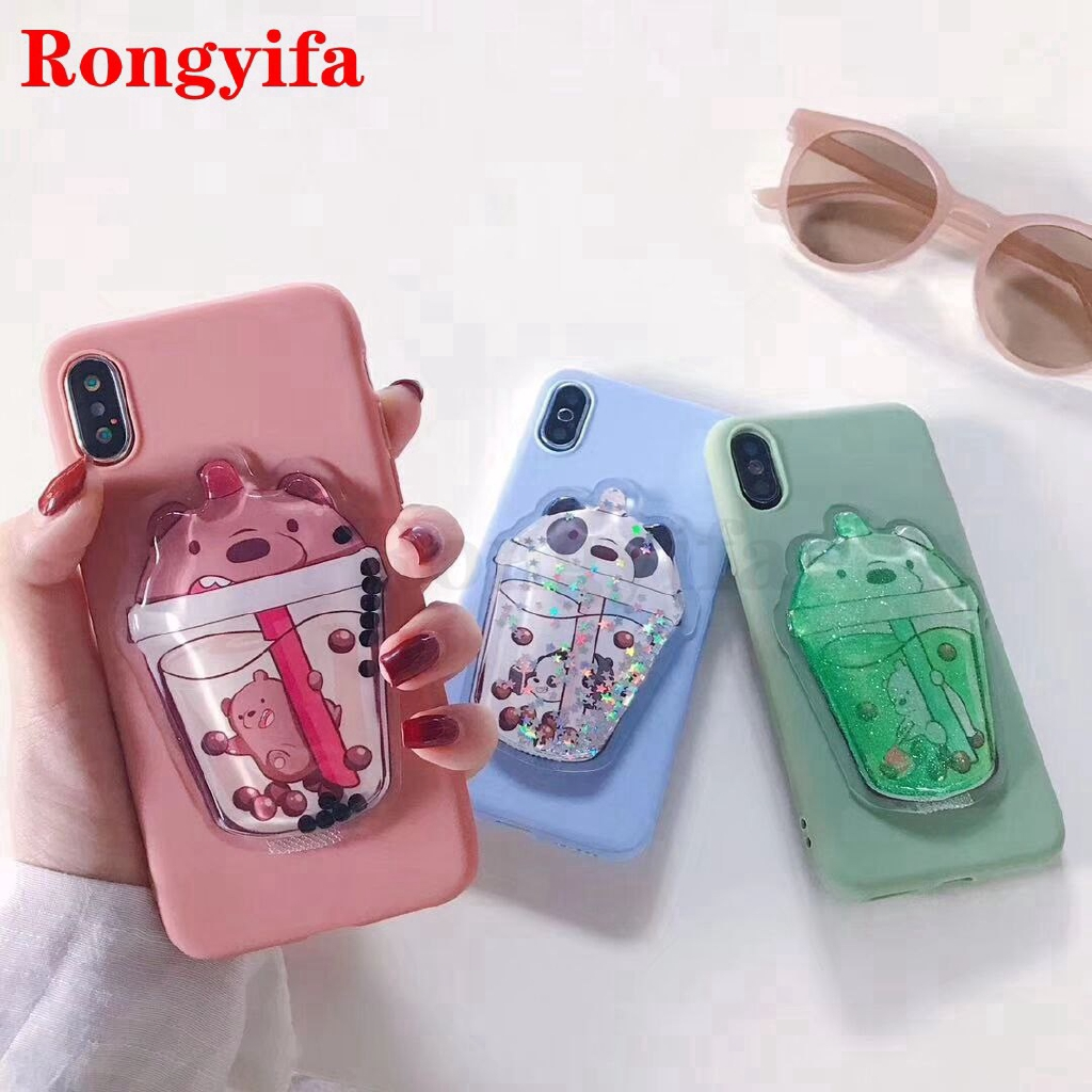 Cute 3D bear Glitter sandbag phone case for Samsung A8S A7 A9 A6+ Plus A6 A8 2018 A9 Pro A5 2017 2016 Case Liquid cover