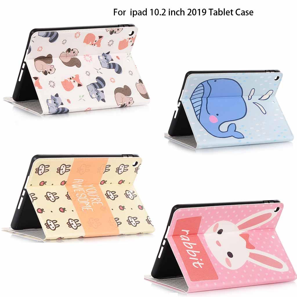 เคสกล่องหนัง PU ลายการ์ตูนสำหรับ Apple iPad 10.2 นิ้ว 2019 7th Gen7 Tablet Case Pencil Slot  Soft PU Leather Cover