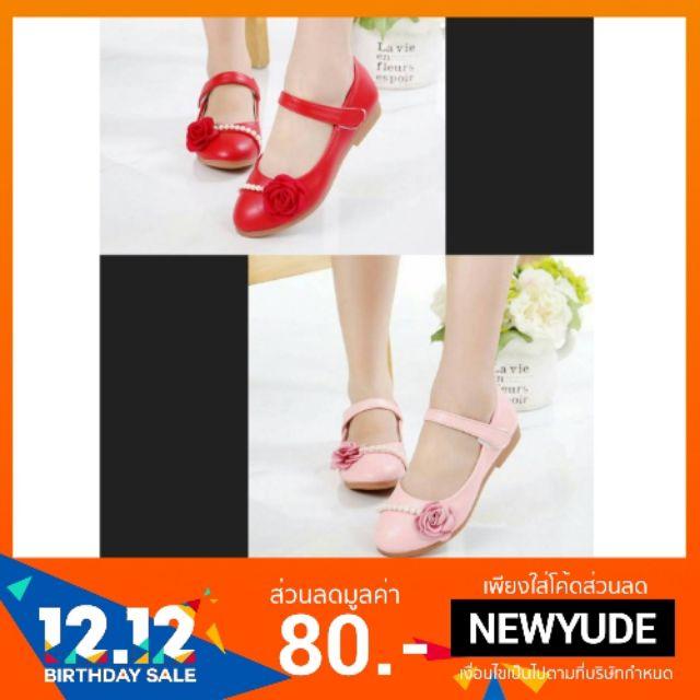 รองเท้าคัชชูเด็กแต่งกุหลาบและไข่มุก มี 2 สี