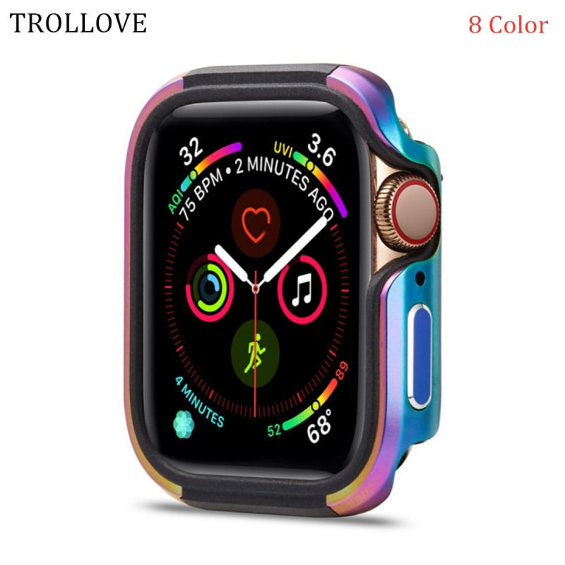 ❤【Promotion】Apple Watch Accessories Silicone + Aluminum Alloy Case iWatch 5 4 40 44mm Protective Case Watch Case