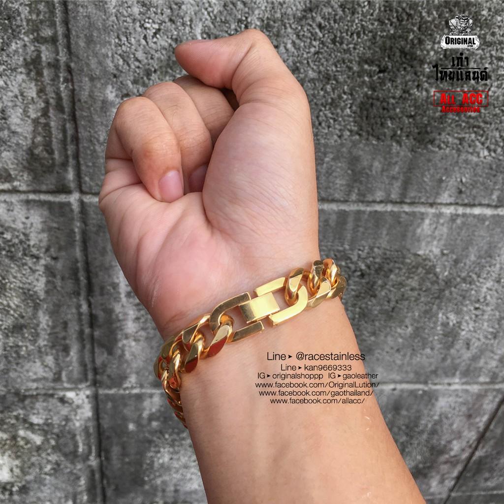 Inspire Jewelry สร้อยข้อมือลายสี่เสาจิกเพชร เส้นขนาด 3 บาท น้ำหนัก 15กรัม ยาว 18cm.x0.5cm.งานทองไมครอน ชุบเศษทองคำแท้ 2