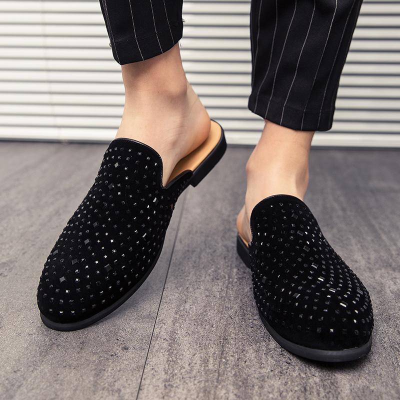 รองเท้าโลฟเฟอร์หนัง สีดำ สำหรับผู้ชาย คัชชูผู้ รองเท้าหนัง เกาหลี รองเท้าผู้ แบบ สวม ไม่มี ส้น ผูกเชือก ขนาด38-45