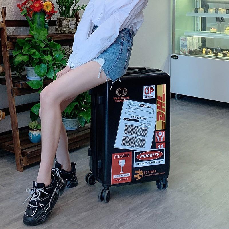 กระเป๋าเดินทาง INS สุทธิสีแดงใหม่ผู้หญิง200,000รอบกระเป๋าเดินทางขนาดเล็ก24นิ้ว Lockbox นักเรียนรถเข็นผู้ชาย1