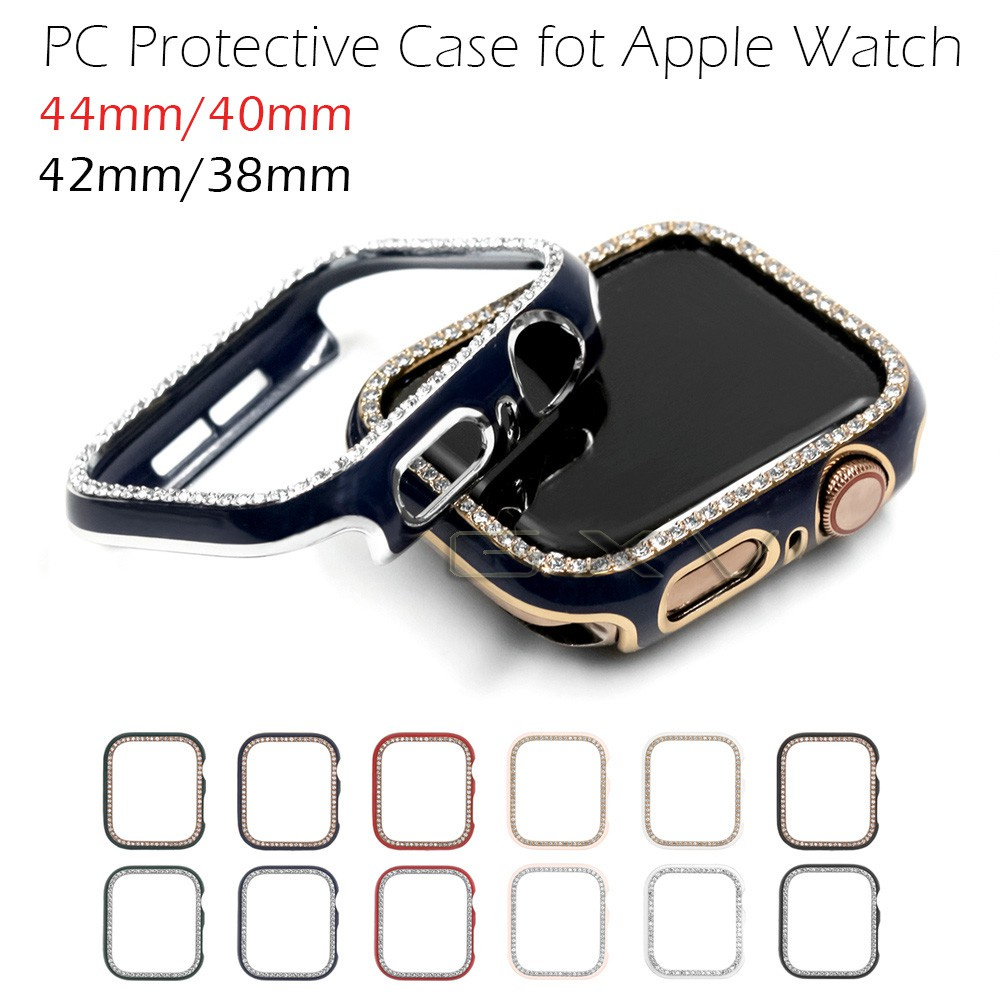 PC Protective Case for Apple Watch Series 6 5 4 3 2 SE Shiny Plastic Zircon Frame Laser Engraving Cover Bumper for iWatch 44mm 40mm 42mm 38mm