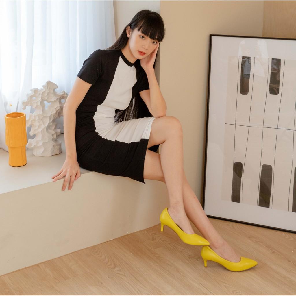 Fiftysix พร้อมส่ง รองเท้าหนังแกะ รองเท้าส้นสูงหนังแกะ รองเท้าคัชชู รองเท้าใส่ทำงาน รองเท้าแฟชั่น รุ่น Blossom Yellow