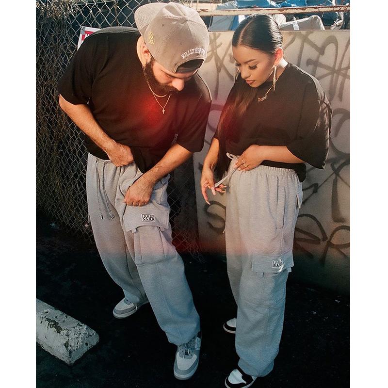 กางเกง hiphop อเมริกันPROCLUBแบรนด์น้ำฤดูใบไม้ร่วงและฤดูหนาวสบายๆตรงกางเกงdrawstringหลวมบวกกำมะหยี่ฮิปฮอปหลวมกางเกงผู้ชา