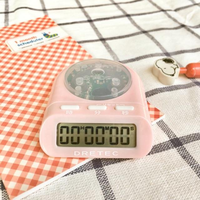 พร้อมส่ง แถมถ่าน นาฬิกาจับเวลาญี่ปุ่น dretec นาฬิกาจับเวลาอ่านหนังสือ สีชมพู