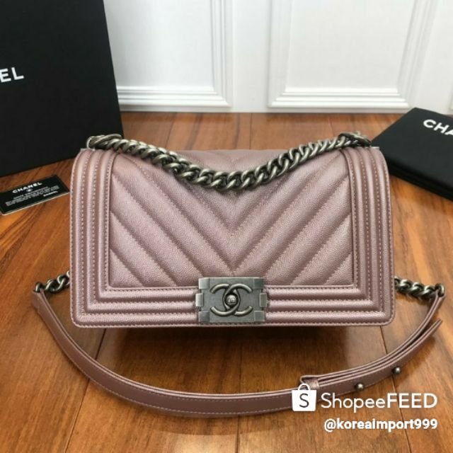 Chanel Boy Pink Grained Calfskin Medium Bag With Silver Hardware