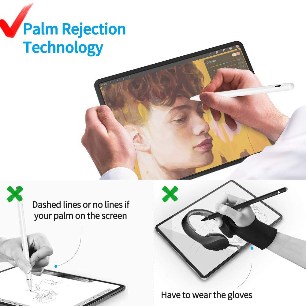 Stylus Pen with Palm Rejection &Tip Tilt technologe Apple Pencil For 2018-2020 iPad Pro 12.9 11 Inch 10.2/2018 9.7/Air 3