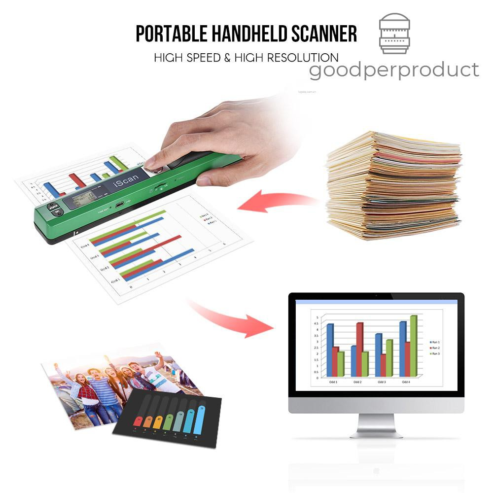 ✍✔Good&P Portable Wireless Scanner Mini Handheld Document Scanners A4 Book Scanner 900 DPI Scan Tool for Scanning Documents