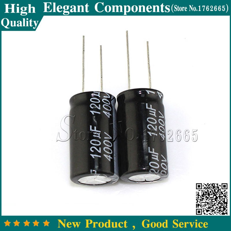 10PCS 120UF 400V 400V 120UF 18*30mm Aluminum Electrolytic Capacitor 400 V / 120 UF Size