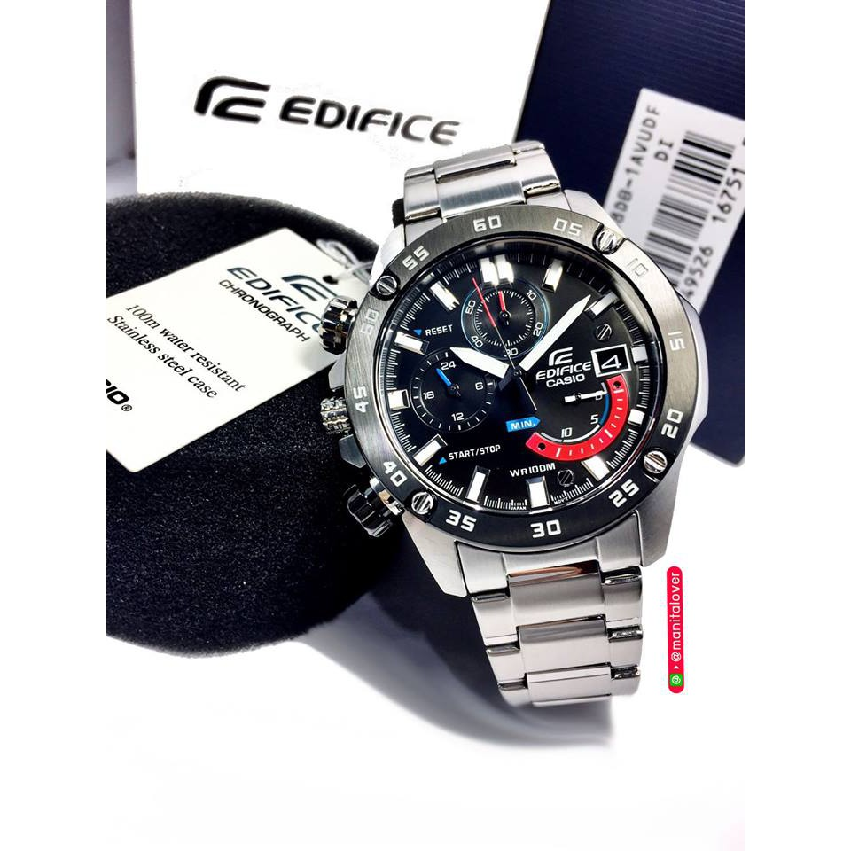 นาฬิกาชาย Casio รุ่น Edifice Chronographตัวเรือนและสายสแตนเลส ขอบหน้าปัดสีดำ