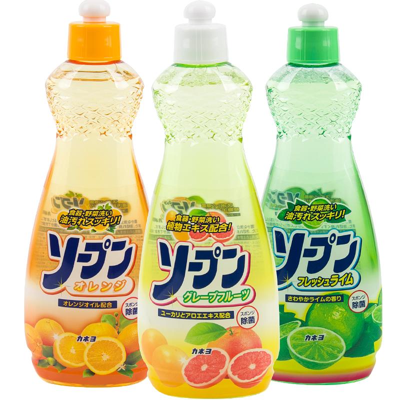 ▲ญี่ปุ่นนำเข้าผงซักฟอก3ขวดผลไม้และผักผงซักฟอกจานบ้านล้างจานล้างไขมันไม่เจ็บมือครอบครัวแพ็คพิเศษ■