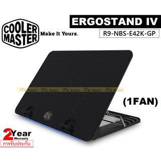 COOLING PAD (อุปกรณ์ระบายความร้อนโน้ตบุ๊ค) COOLER MASTER ERGOSTAND IV (1Fan)(R9-NBS-E42K-GP) - รับประกัน 2 ปี
