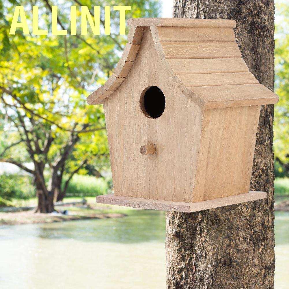 Allinit บ้านไม้กล่องเพาะพันธุ์นกบ้านสัตว์เลี้ยง