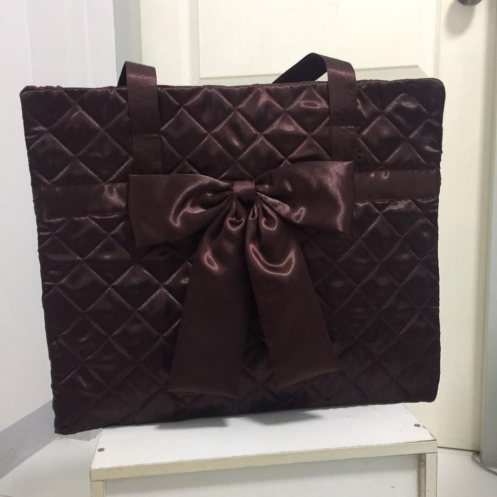 กระเป๋าผ้า กระเป๋าเดินทาง ใบเล็ก สไตล์ นารายา Naraya Style กระเป๋าสะพาย สีน้ำตาล