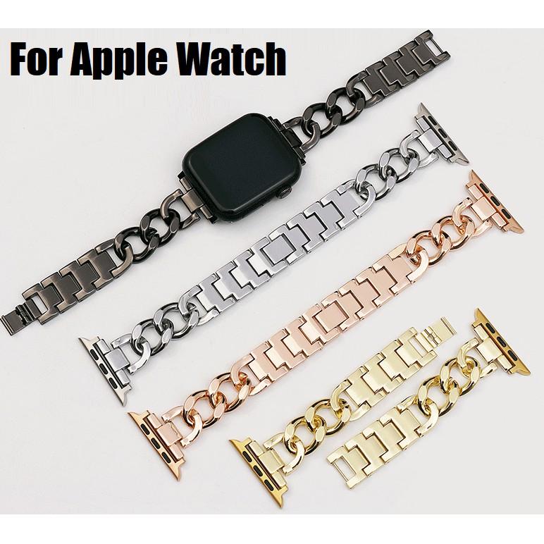 Luxury Chain สายนาฬิกา Apple Watch Straps เหล็กกล้าไร้สนิม สาย Applewatch Series 6 5 4 3 2 1, Apple Watch SE Stainless S