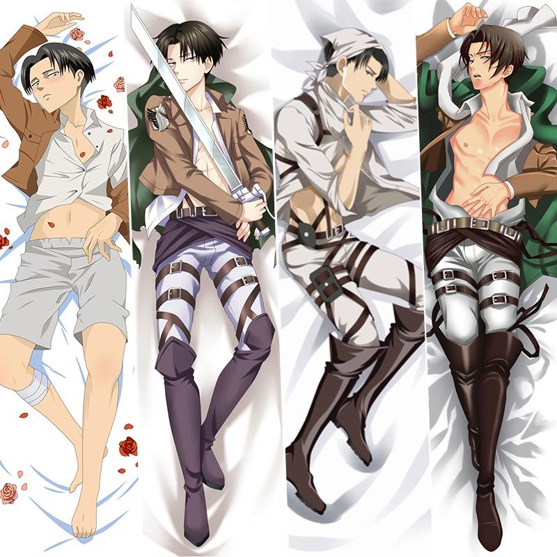หมอนอนิเมะDakimakura Pillowcase Attack on Titan Levi Anime Tanbi Male Anime Game Character Pillow Cover Cartoon Custom M